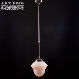 Art Deco hanglamp 'Leeds' staal pendel lang glas 25cm