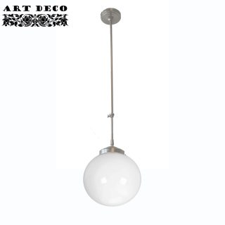 Art Deco hanglamp 'Globe' staal pendel lang glas 25 cm