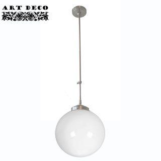 Art Deco hanglamp 'Globe' staal pendel lang glas 30cm