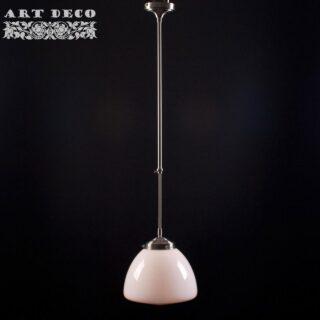 Art Deco hanglamp 'Glasgow' staal pendel lang glas 25cm