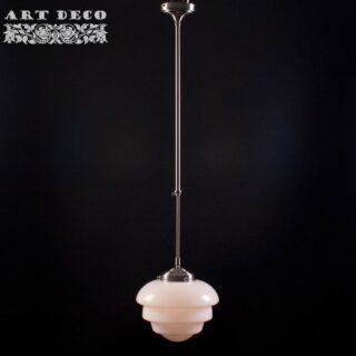 Art Deco hanglamp 'Oxford' staal pendel lang glas 25cm
