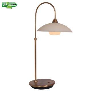 Bronzen 1 lichts tafellamp met dimmer