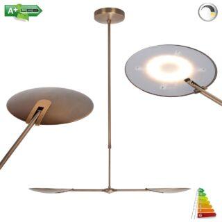 Design eettafel hanglamp brons met ingebouwde dimmer