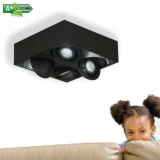 Dimbare zwarte plafondspot 4 lichts verstelbaar