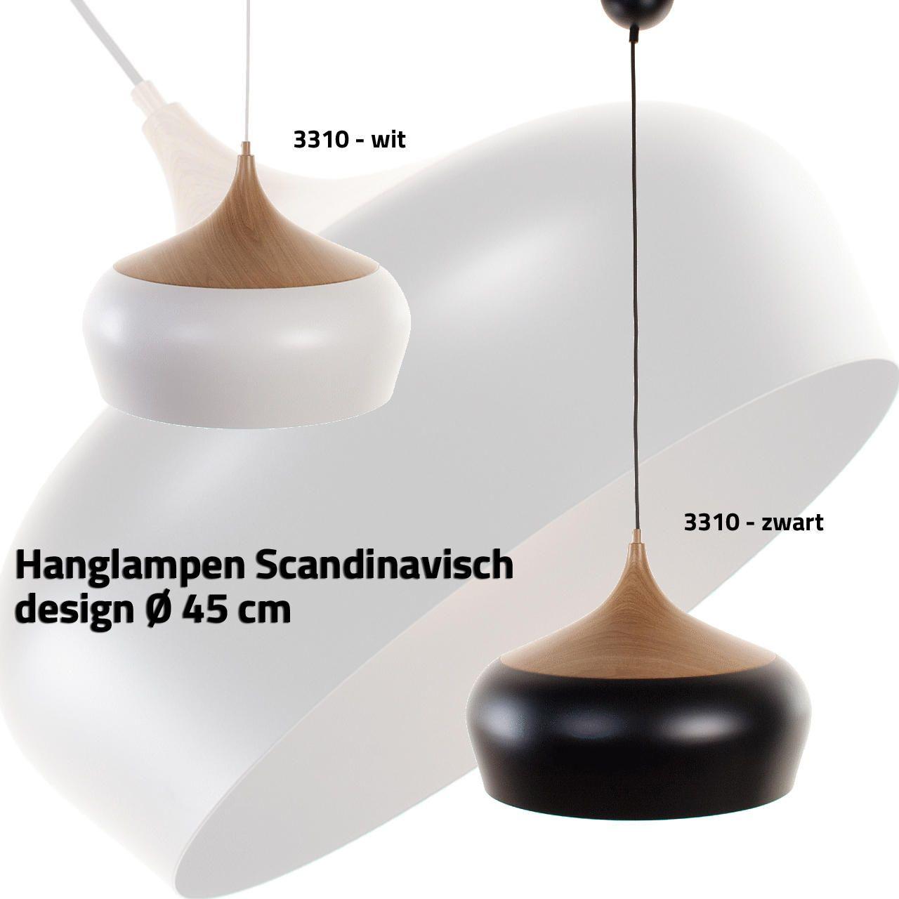 Hanglamp scandinavisch design zwart met hout ⌀ 45cm LampenConcurrent.nl