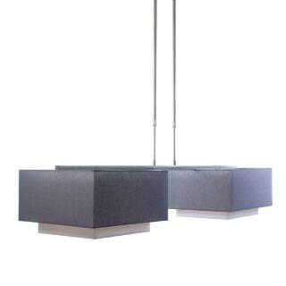 Hanglamp 'Square' 2 lichts met kappen antraciet
