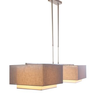 Hanglamp 'Square' 2 lichts met kappen taupe