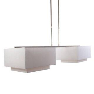 Hanglamp 'Square' 2 lichts met kappen wit