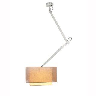 Hanglamp 'Square' robuust 1 lichts zwenk kort met kap taupe