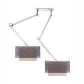 Hanglamp 'Square' robuust 2 lichts zwenk met kappen antraciet