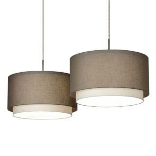 Hanglamp 'Verona' 2 lichts balk met taupe kappen
