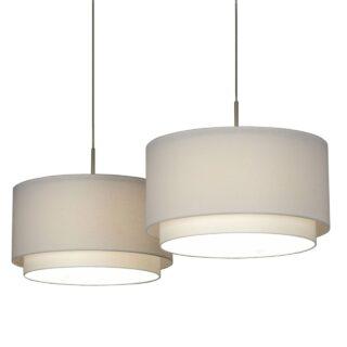 Hanglamp 'Verona' 2 lichts balk met witte kappen