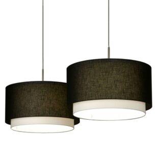 Hanglamp 'Verona' 2 lichts balk met zwarte kappen