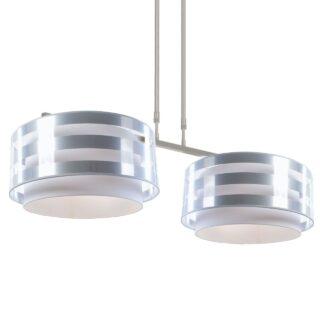 Hanglamp 'Verona' 2 lichts met streep kap zilver