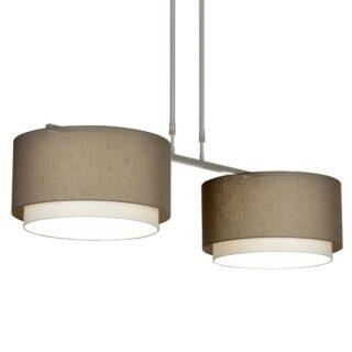 Hanglamp 'Verona' 2 lichts met taupe kappen