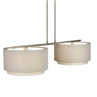 Hanglamp 'Verona' 2 lichts met witte kappen