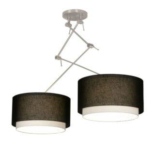 Hanglamp 'Verona' 2 lichts zwenk met zwarte kappen