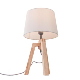 Houten tafellamp met drie poten en kap