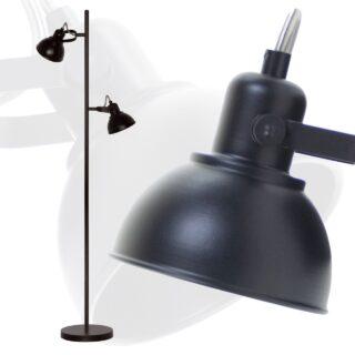 Industriële vloerlamp 2 lichts verstelbaar zwart