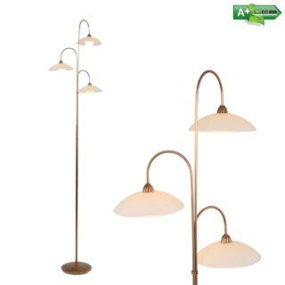 Klassieke woonkamer vloerlamp 3 lichts brons