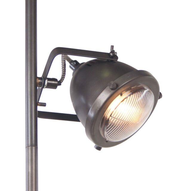 Landelijk industriële vloerlamp 2 lichts hout / gun metal zwart (kopie)