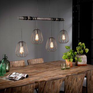 Landelijke eettafellamp 4 lichts Lampoon oud zilver