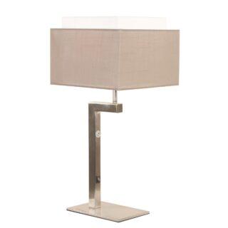 Landelijke tafellamp met vierkante taupe kap