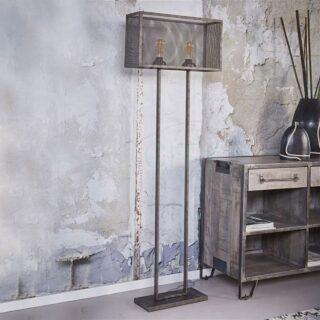 Landelijke vloerlamp oud zilver rechthoek raster - 7411/29
