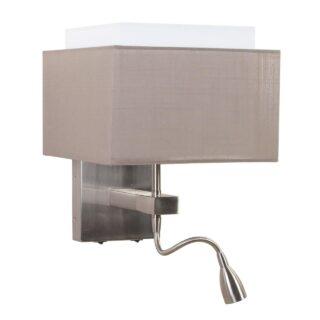 Moderne wandlamp met vierkante kap taupe en leeslampje