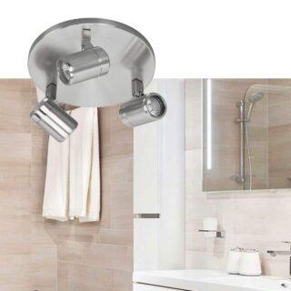 Ronde 3 lichts badkamer plafondlamp Rain mat staal