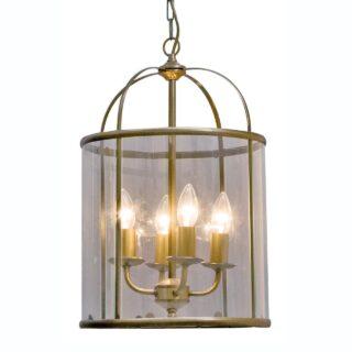 Stijlvolle lantaarn hanglamp Pimpernel 4 lichts brons ⌀ 32 cm