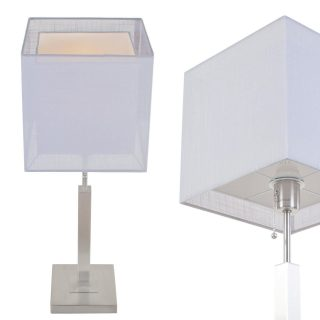 Tafellamp Mini Cuba met dubbele vierkante kap licht grijs