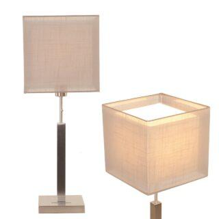 Tafellamp Mini Cuba met dubbele vierkante kap taupe