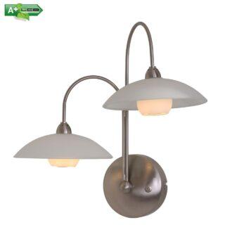 Trendy 2 lichts wandlamp met wit glas