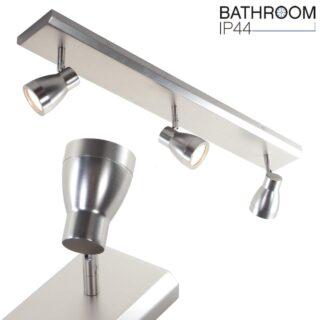 Verstelbare badkamerverlichting 3 lichts balk IP44 mat staal