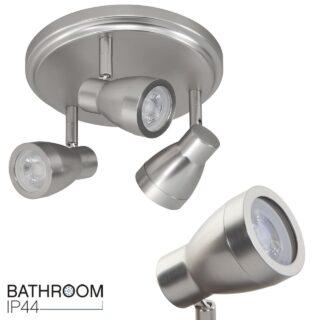 Verstelbare badkamerverlichting 3 lichts rond IP44 mat staal