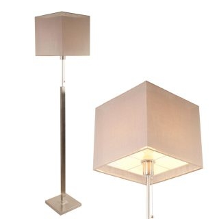 Vloerlamp Mini Cuba met dubbele vierkante kap taupe