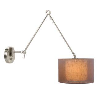 Wandlamp 'Camelot' zwenk + kap in kap linnen taupe