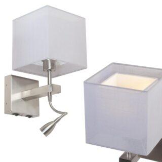 Wandlamp met dubbele kap licht grijs en verstelbare leeslamp led