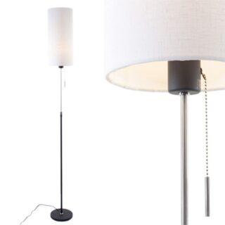 Zwarte vloerlamp met cilinder kap linnen wit