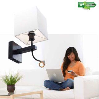 Zwarte wandlamp met led leeslamp en vierkante kap