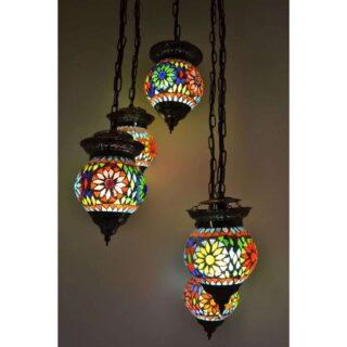 Oosterse 5 bol hanglamp mozaïek rond Turkish Design Ø35cm multicolor