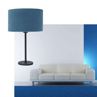 Zwarte tafellamp met kap fluweel blauw Ø 30cm